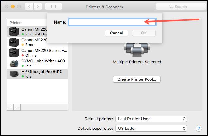 Printer Pool Name