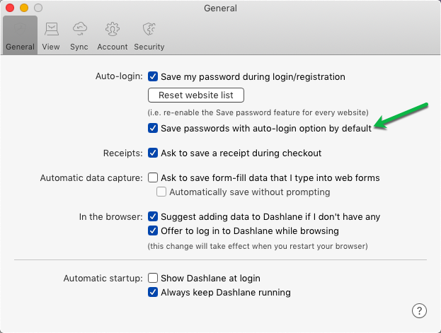 Dashlane Auto-Login Preference