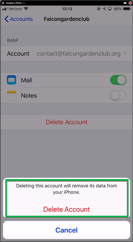 Tap on Delete Account to confirm what you wish to do.
