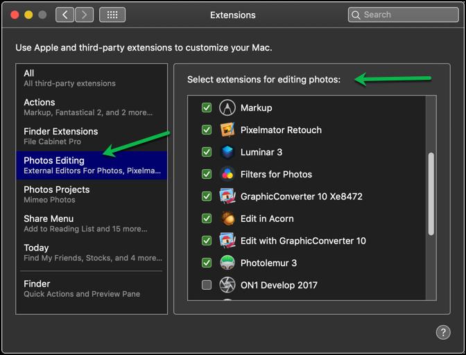Photos Extensions list
