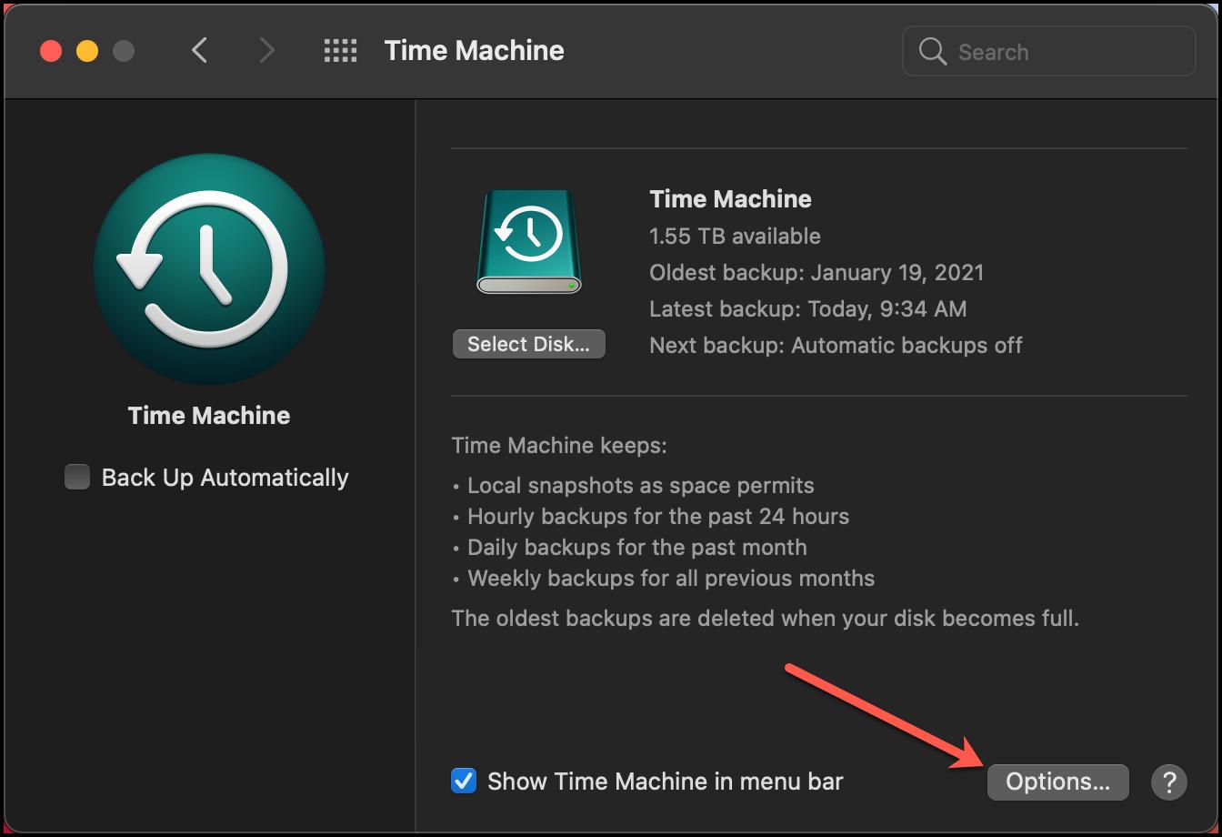 Time Machine Options