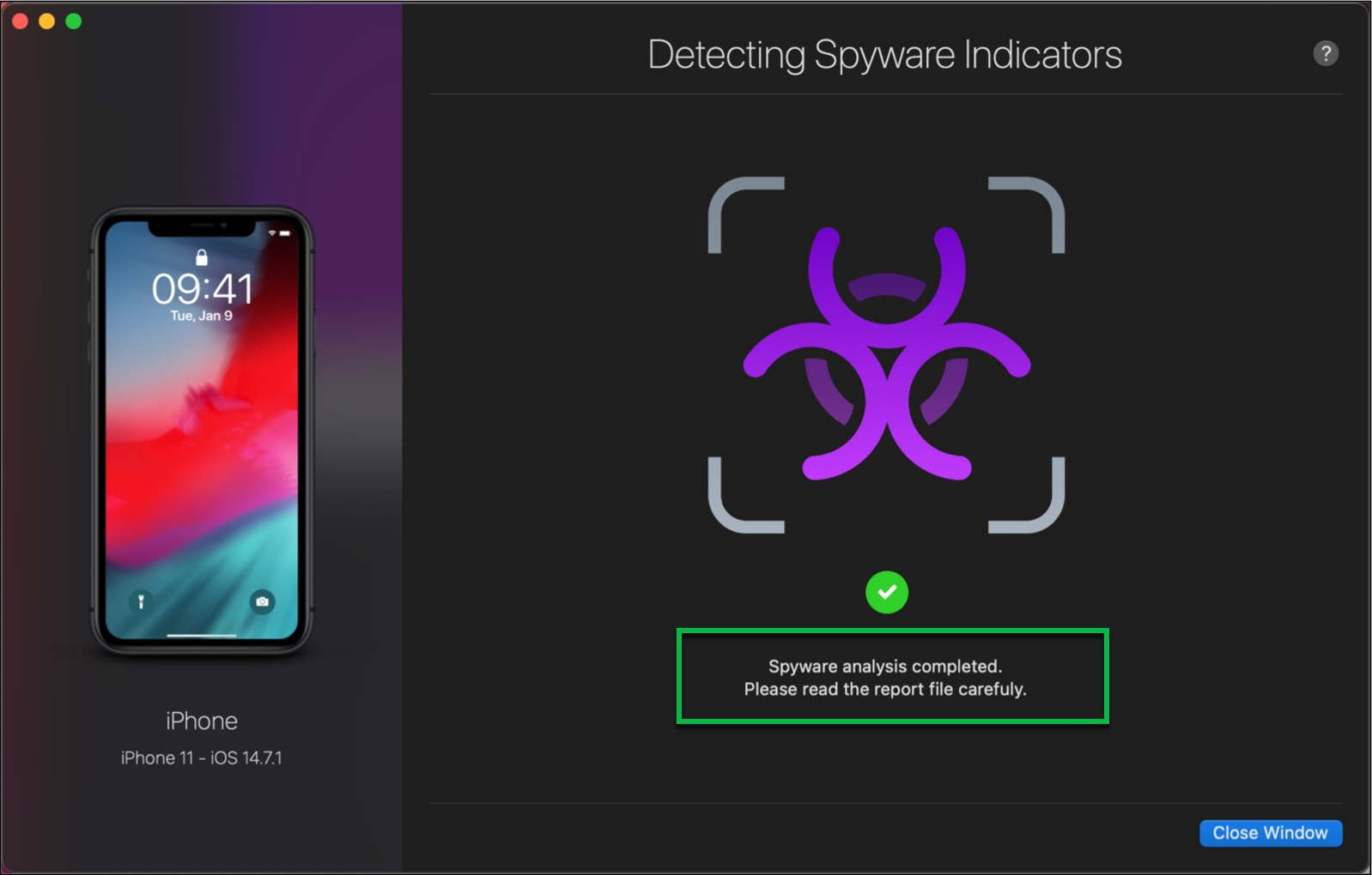 Spyware Analysis Completed